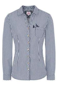 Orbis Textil Damen Trachten Bluse Hemd  langarm Karo Basic lila grün Oktoberfest