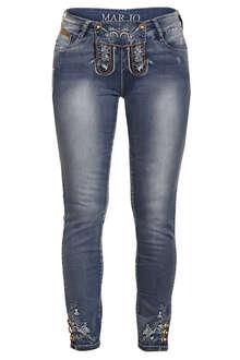 Damen Trachten Stretch Jeans lang blau