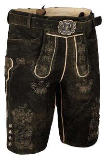 kaufen größte Auswahl an Größe 7 Kurze Herren Lederhose dunkelbraun beige Stickerei mit Gürtel