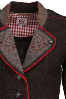 Strickblazer Stickerei braun-rot