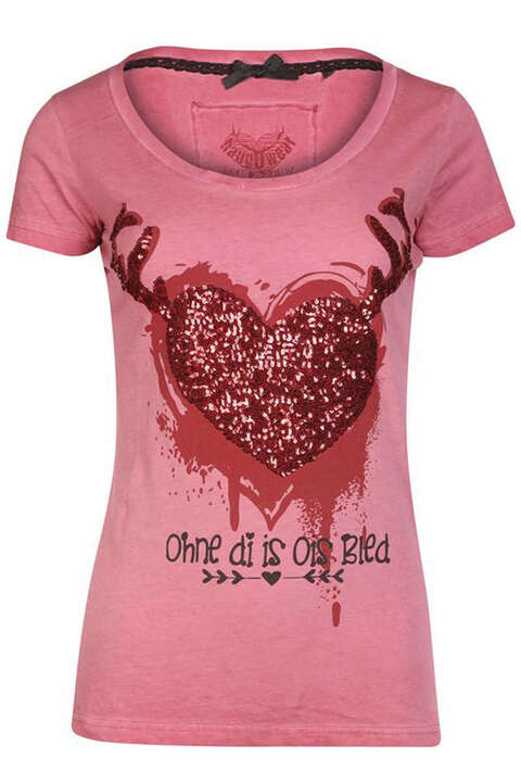 Damen T-Shirt Herz 'Ohne di is ois bled' rot
