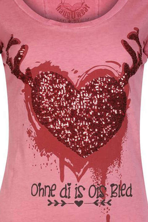 T-Shirt Herz Ohne di is ois bled rot