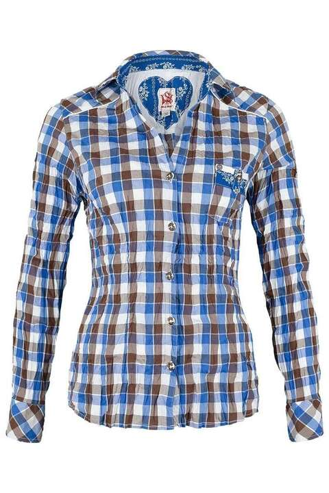 Bluse Crash-Optik kariert blau