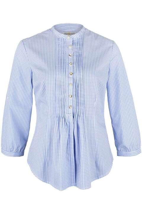 bluse mit biesen und stehkragen hellblau kariert blusen langarm trachtenblusen trachtenshirts. Black Bedroom Furniture Sets. Home Design Ideas
